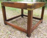 Military Style Square Top Mahogany Coffee Table